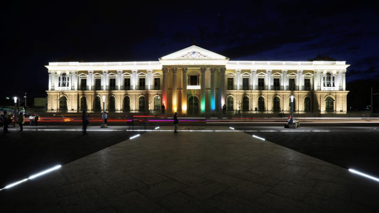 The National Palace is seen illuminated with the colours of the LGBT rainbow flag to commemorate the Diversity Month in downtown San Salvador, El Salvador. (Image: Reuters)
