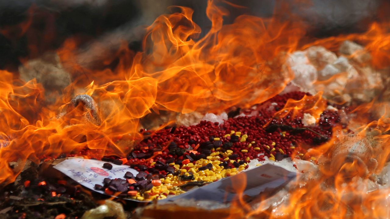 Confiscated drugs burned during a ceremony to mark the International Day against Drug Abuse and Illicit Trafficking, in Phnom Penh, Cambodia. (Image: Reuters)