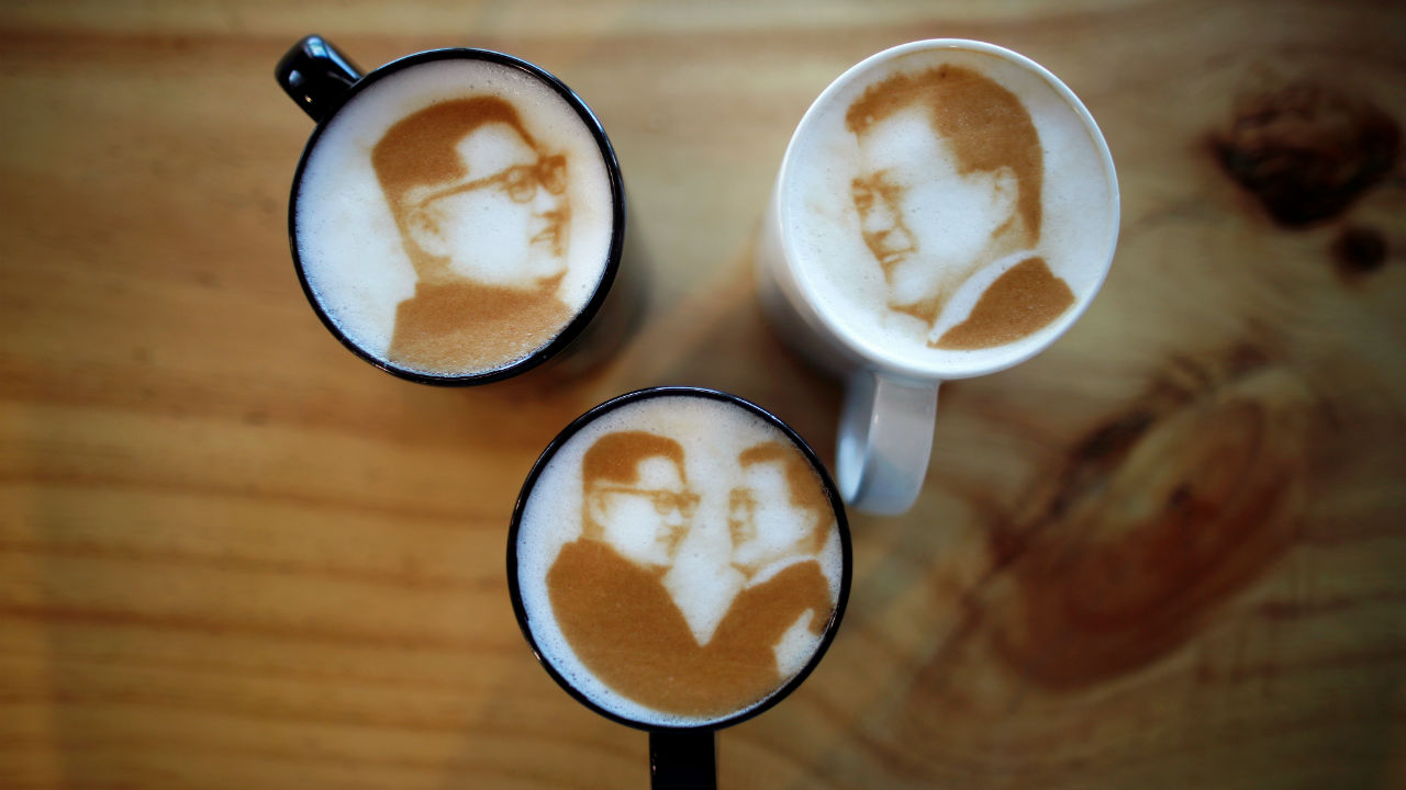 Pictures of North Korean leader Kim Jong Un and South Korean President Moon Jae-in are printed on top of milk foam of lattes at a coffee shop in Jeonju, South Korea. (REUTERS)