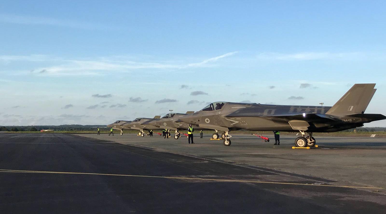 The Royal Air Force's first delivery of F35B aircraft fly from Marine Corps Air Station Beaufort in the U.S. towards their new base RAF Marnham, Britain. (REUTERS)
