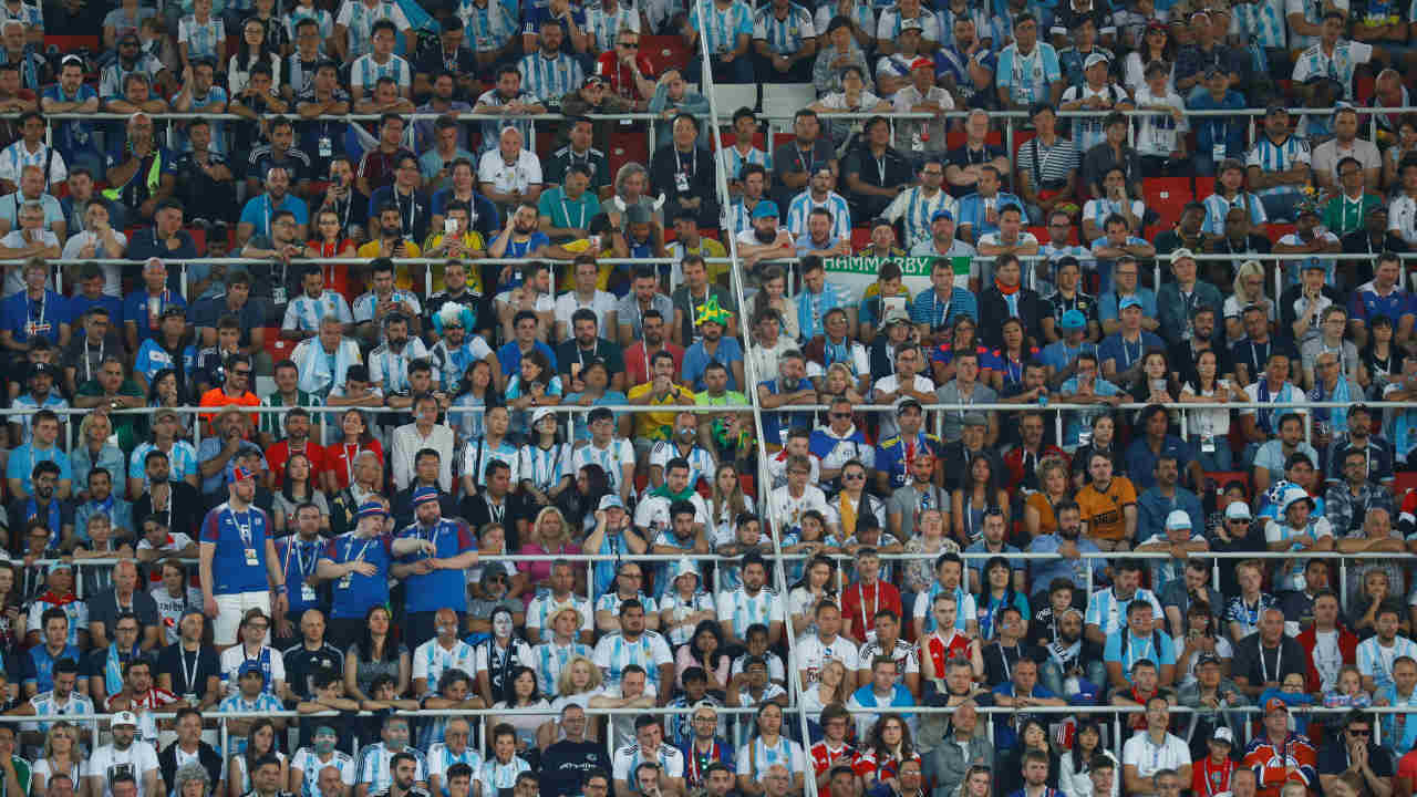 A general view of football fans at the Fifa World Cup 2018 match with Argentina playing against Iceland at the Spartak Stadium in Moscow, Russia (REUTERS)