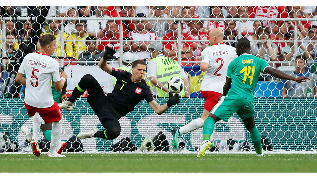 Poland's Wojciech Szczesny in action against Senegal at the Spartak Stadium, Moscow, Russia in the Fifa World Cup 2018 (REUTERS)