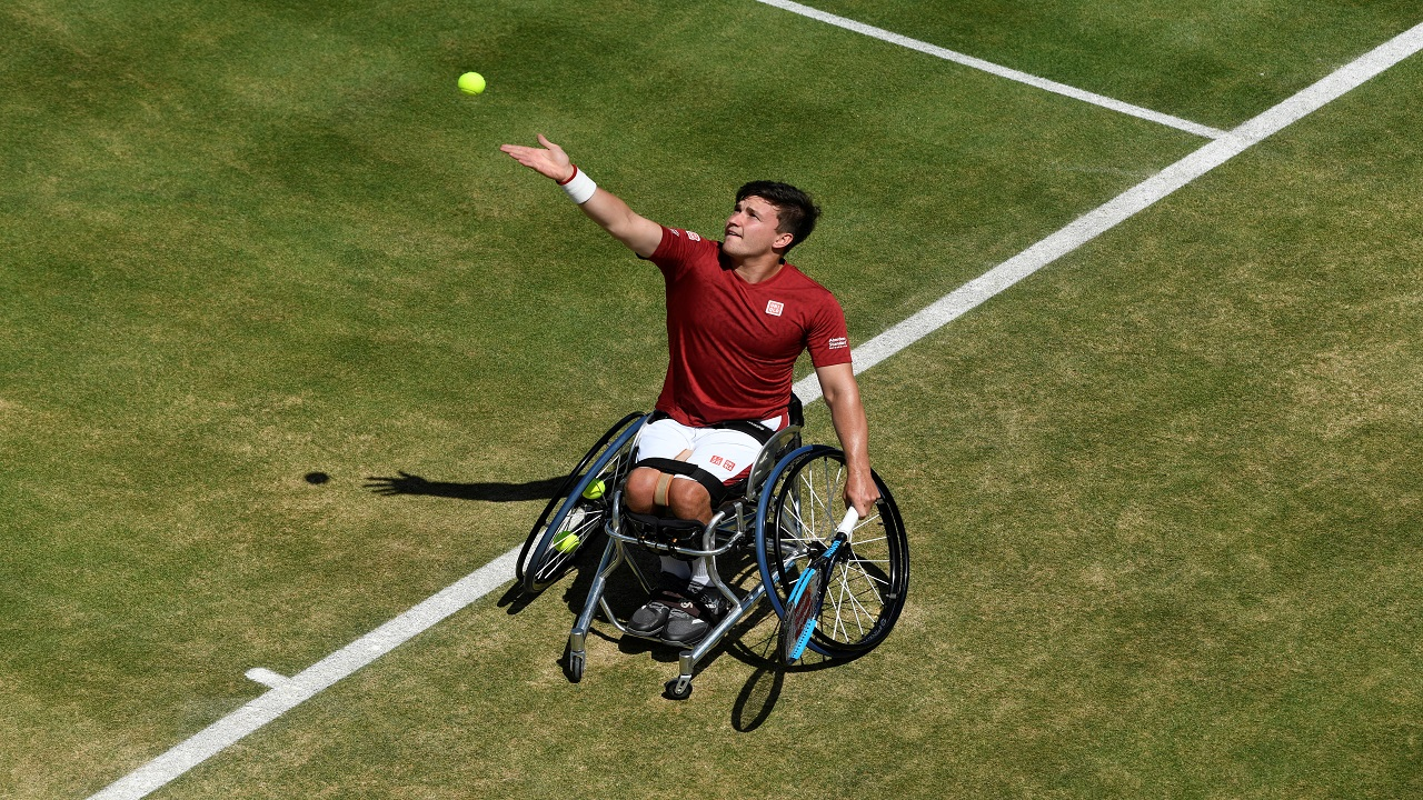 Britain's Gordon Reid in action during his wheelchair match against France's Nicolas Peifer as part of the ATP 500 - Fever-Tree Championship, at the Queens Club in London Britain. (Image: Reuters)