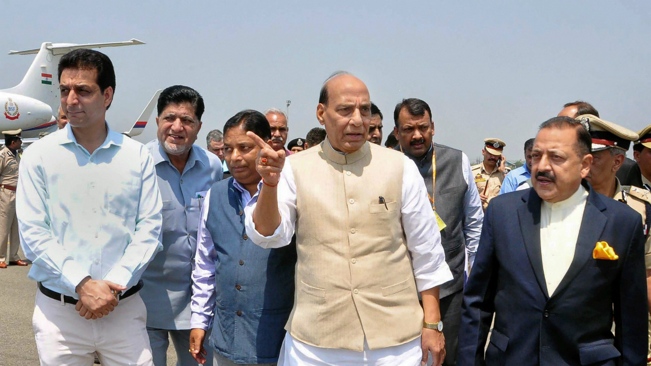 Union Home Minister Rajnath Singh with MoS in PMO Jitendra Singh arrive for a 2-day visit, in Srinagar (PTI)