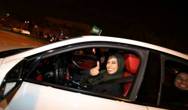At midnight, Riyadh erupts in cheers for a woman in a car