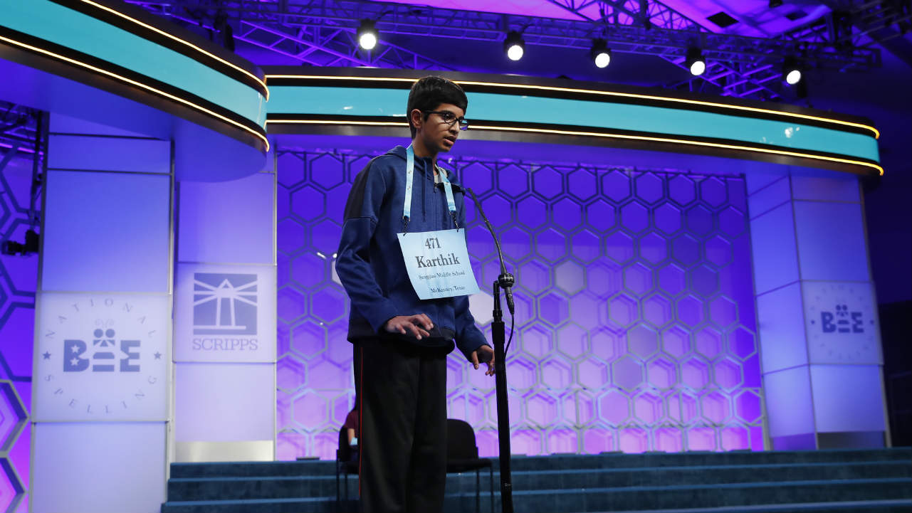 Indian-American Karthik Nemmani, 14, from McKinney, Texas, spells a word correctly to win the Scripps National Spelling Bee. (Photo: AP)