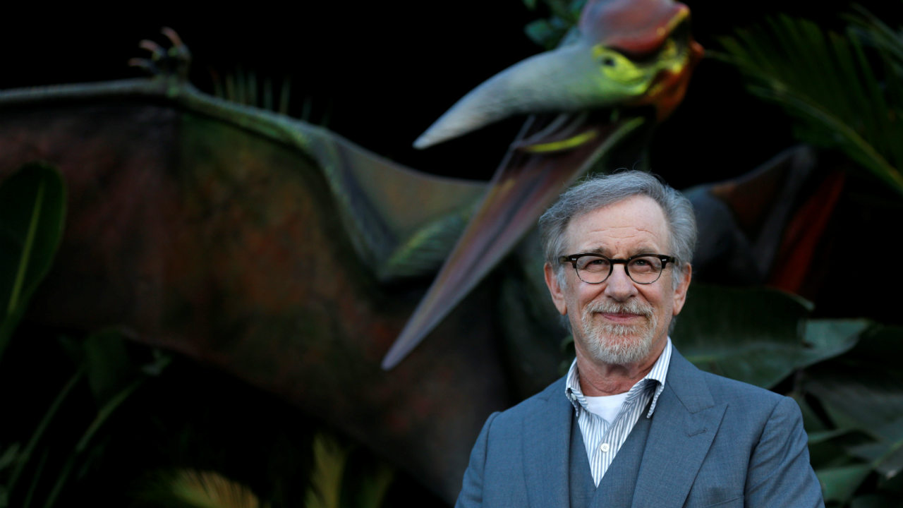 "Executive producer Steven Spielberg poses at the premiere of the movie ""Jurassic World: Fallen Kingdom"" at Walt Disney Concert Hall in Los Angeles. (Image: Reuters)"