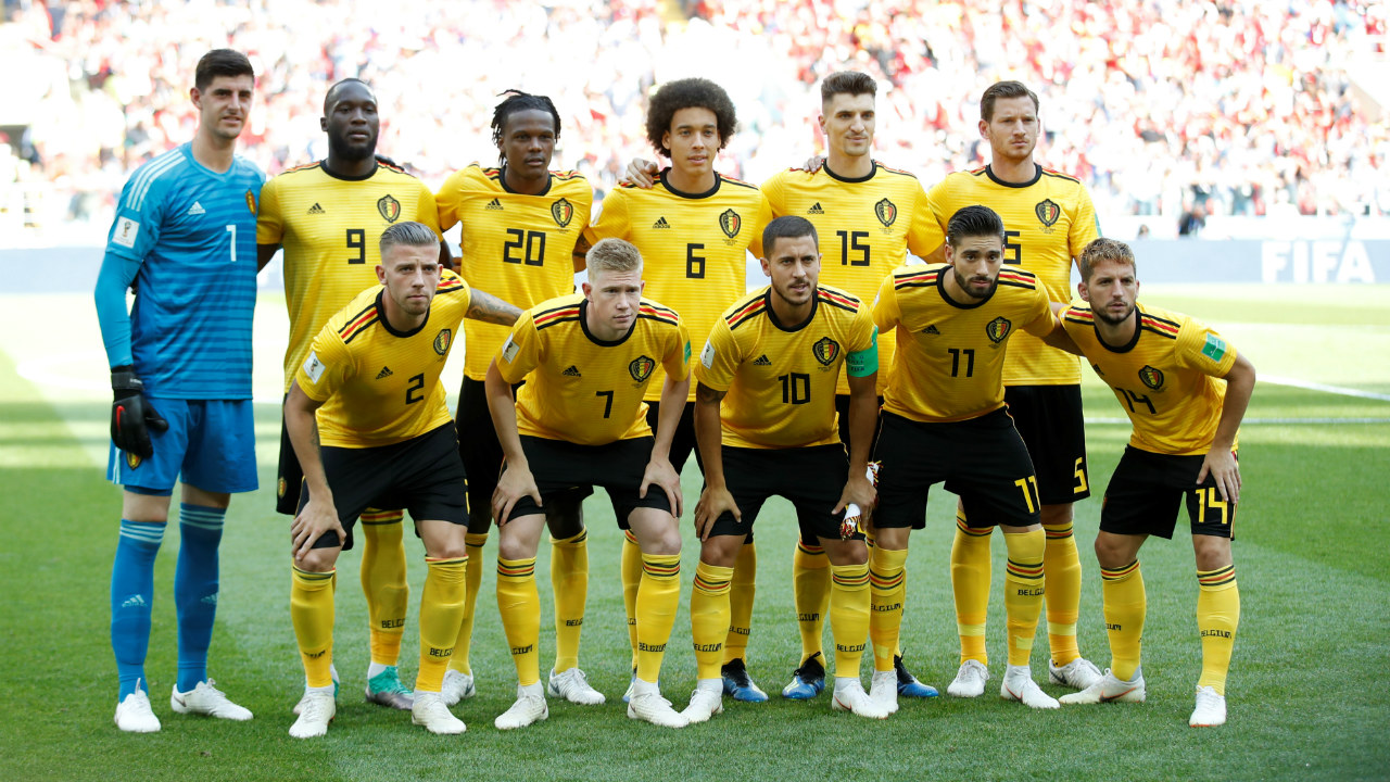 Belgium players pose for a team group photo before the match.