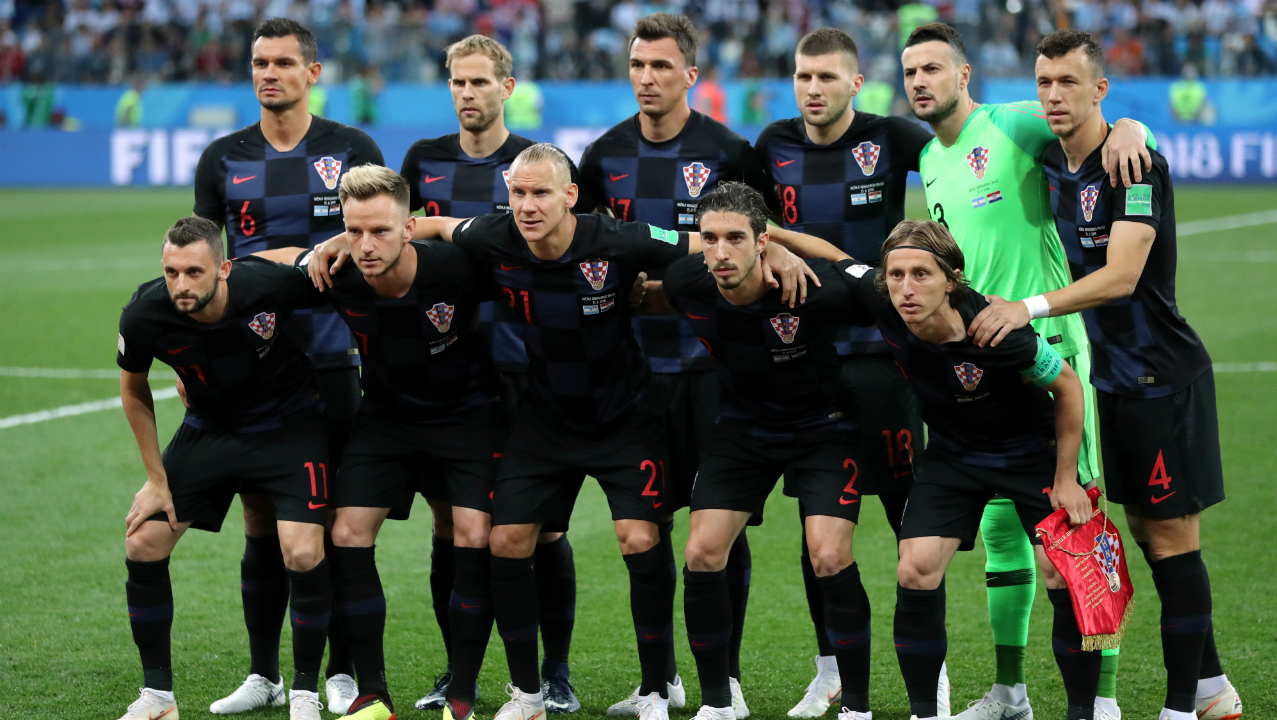 Croatia players pose for a team group photo before the match.