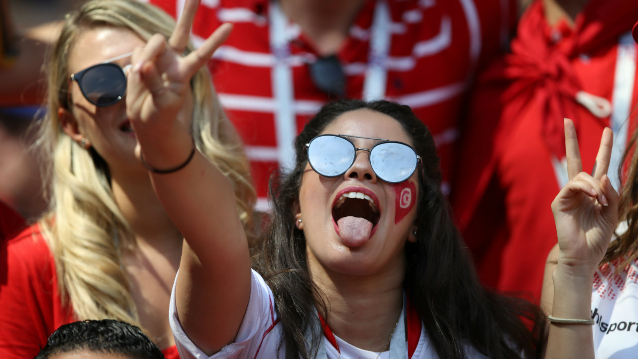 Tunisia fan enjoying the atmosphere inside the stadium before the match.