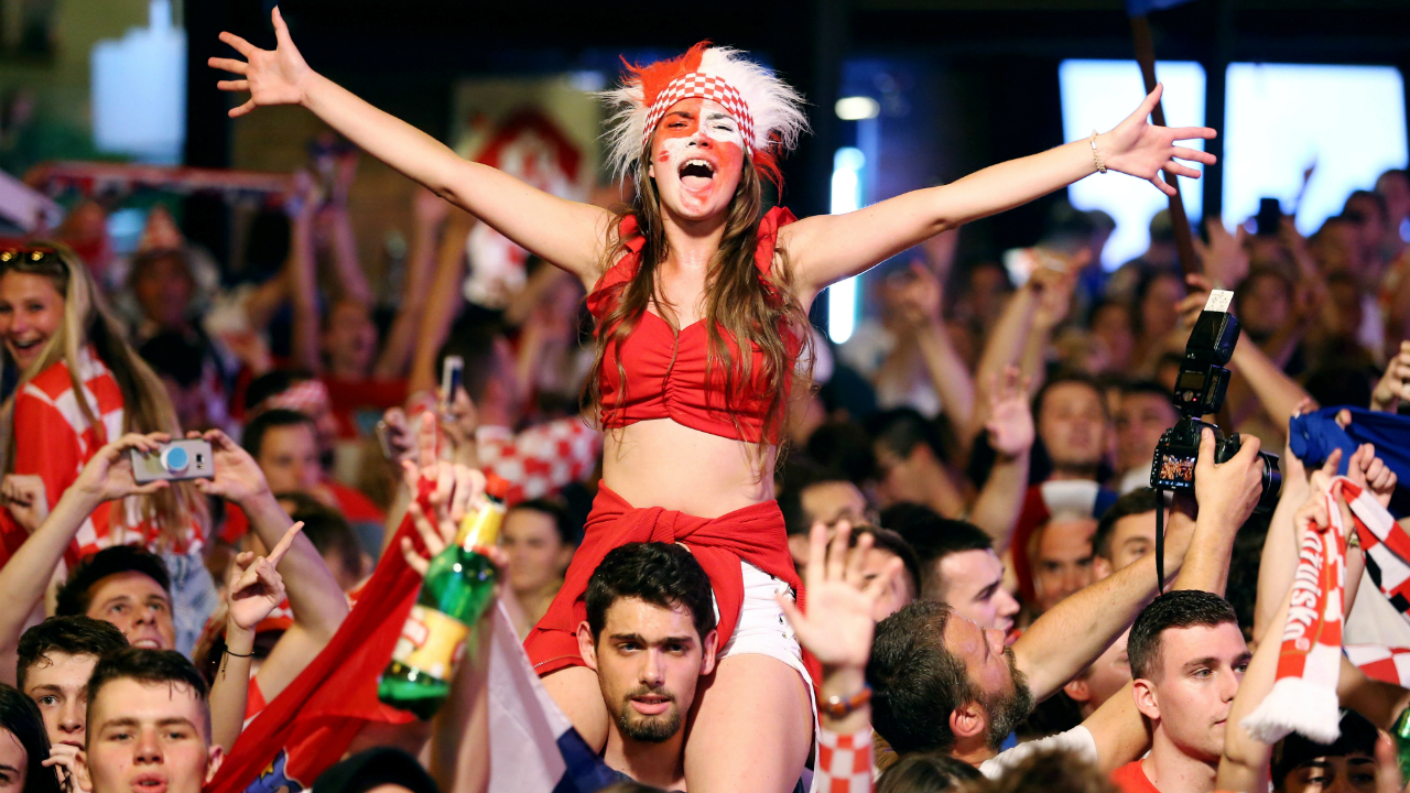Croatia's fans celebrate after the match.