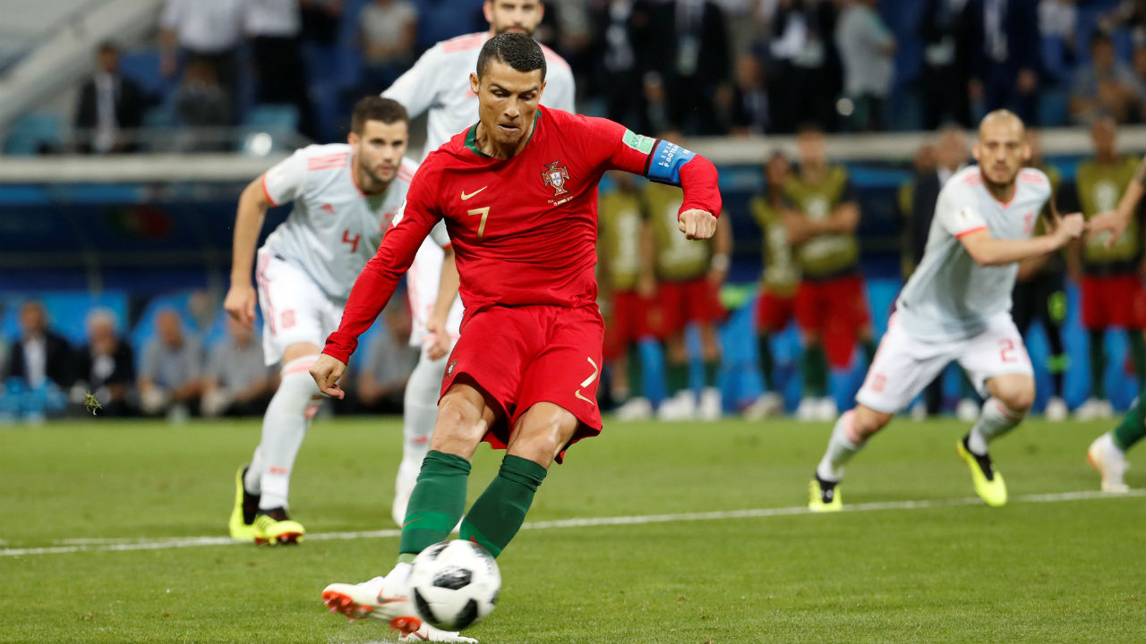 It took precisely three minutes and 30 seconds for Cristiano Ronaldo to get his first goal of the tournament. Ronaldo picked up the ball and charged into the area before Nacho tripped him. The referee pointed to the penalty spot and Ronaldo calmly smashed