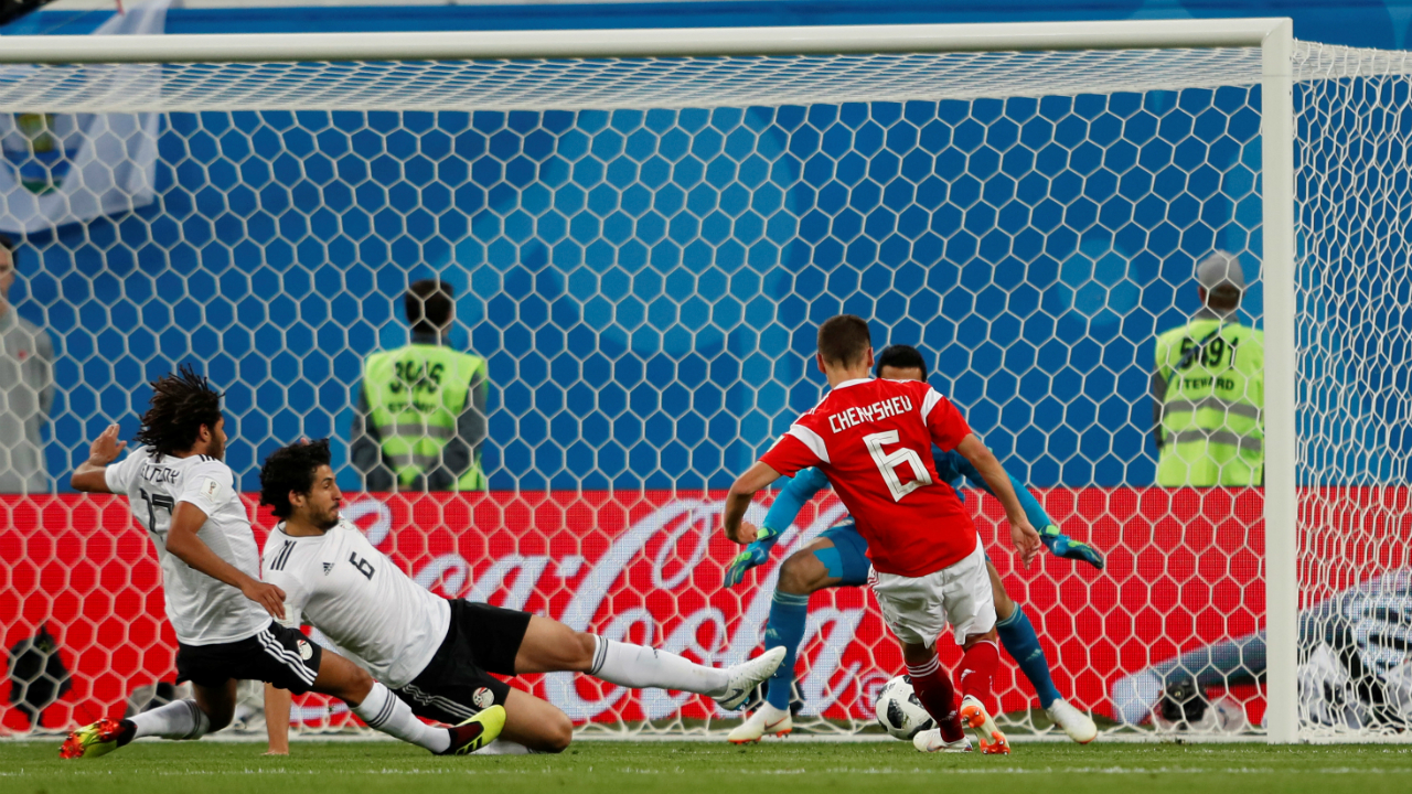 Russia's Denis Cheryshev scores their second goal.