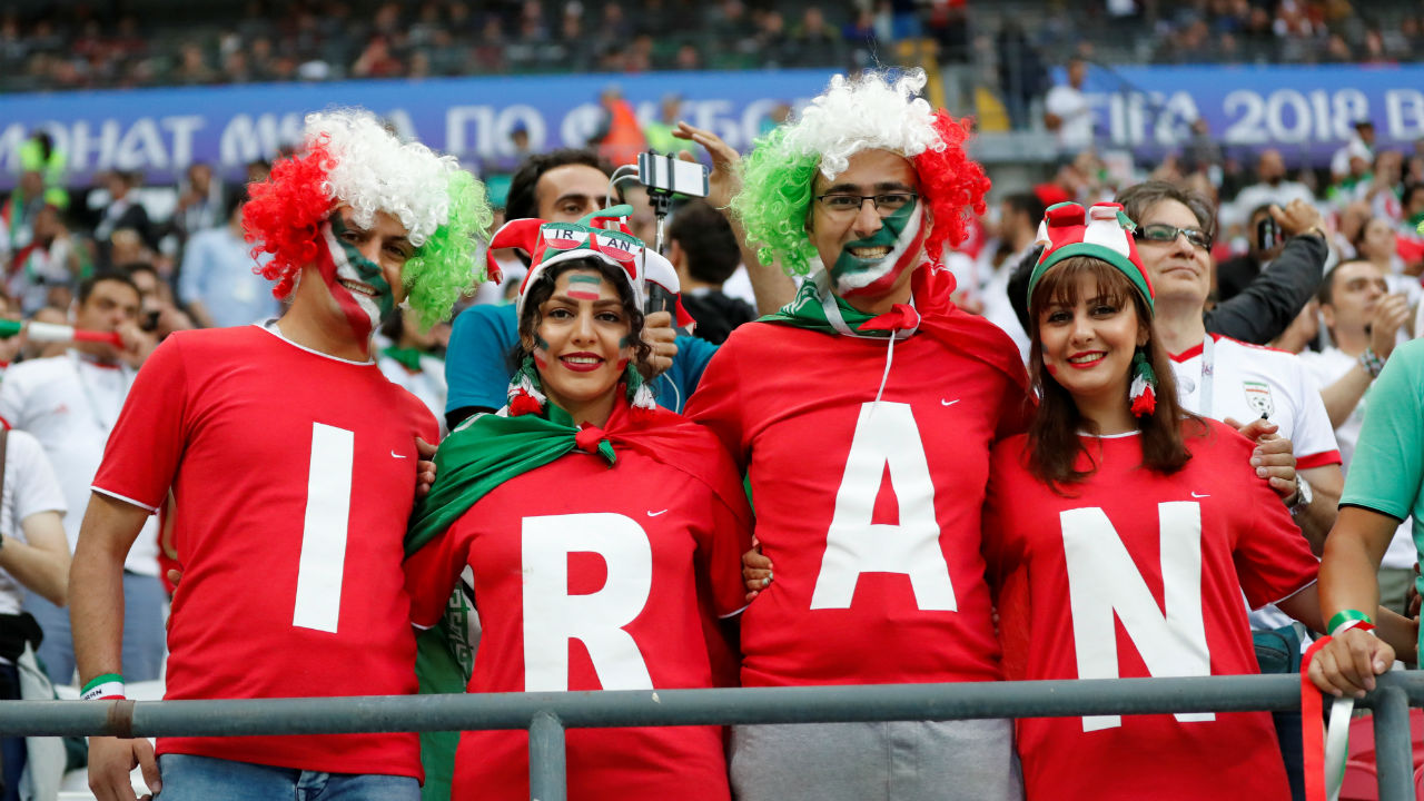 Iran fans enjoying the atmosphere inside the stadium before the match.