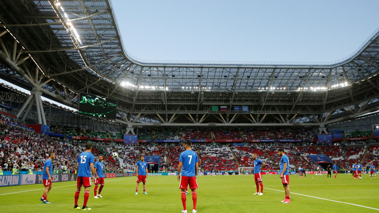 Iran players during the warm up before the match.