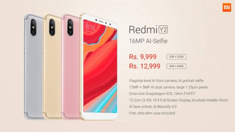 Redmi Y2 launched in India at Rs 9,999