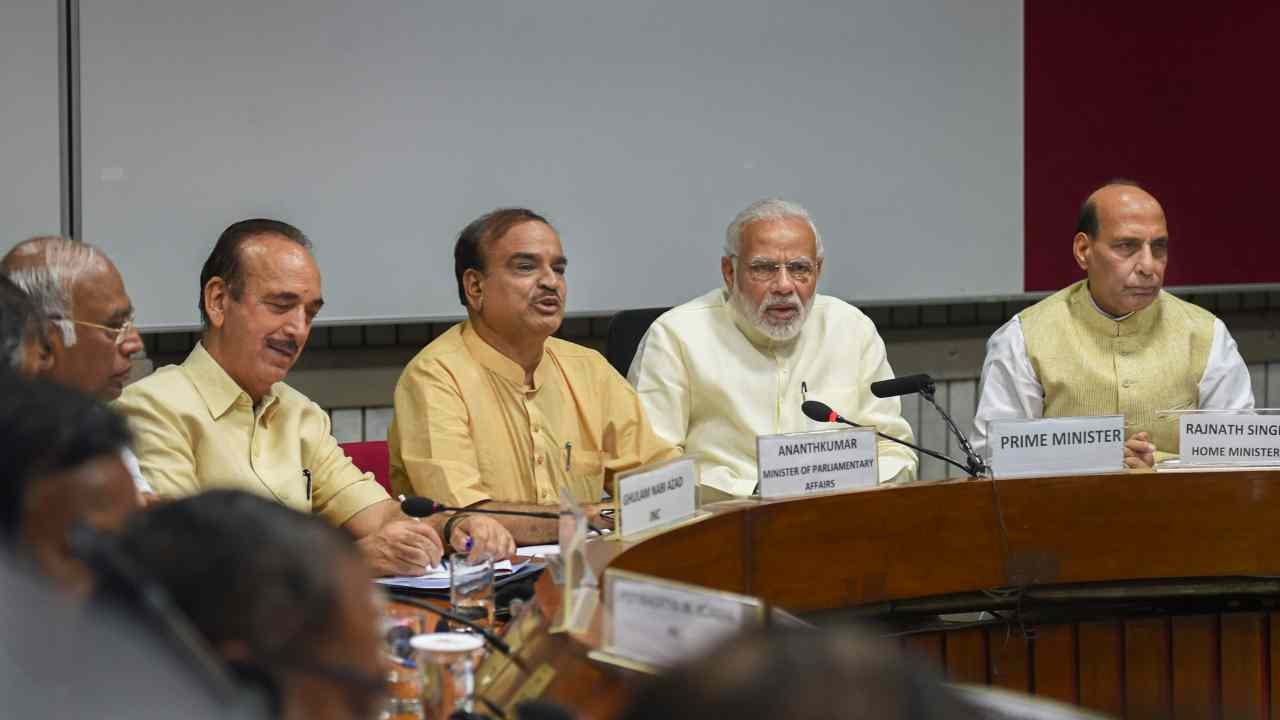Prime Minister Narendra Modi with Union Home Minister Rajnath Singh, Parliamentary Affairs Minister Ananth Kumar, Congress leaders Ghulam Nabi Azad and Mallikarjun Kharge at an all-party meeting, ahead of the monsoon session of Parliament, in New Delhi. (PTI)