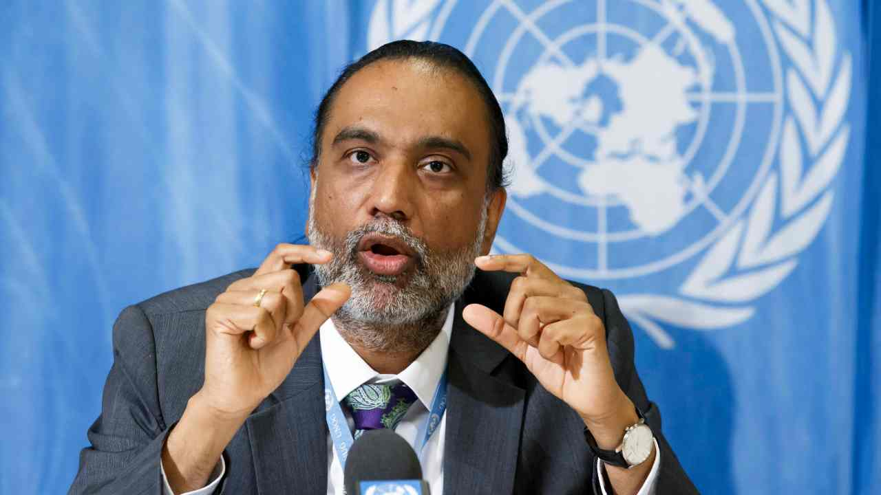 India's Ambassador Amandeep Gill speaks on digital cooperation during a press briefing, at the European headquarters of the United Nations in Geneva, Switzerland. (AP/PTI)