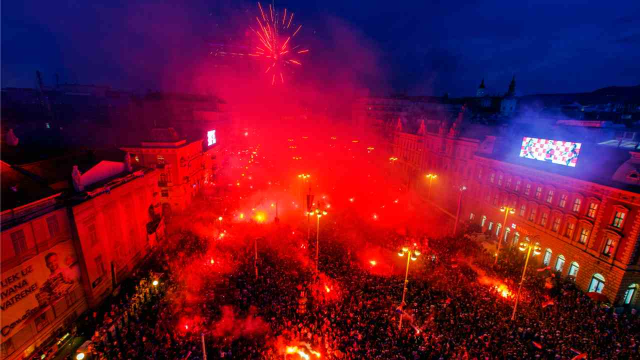 Supporters of the Croatian national soccer team light torches in a celebration in Zagreb, Croatia. Euphoria gave way to a mixture of disappointment and pride for Croatia fans after their national team lost to France in its first ever World Cup final. (AP/PTI)