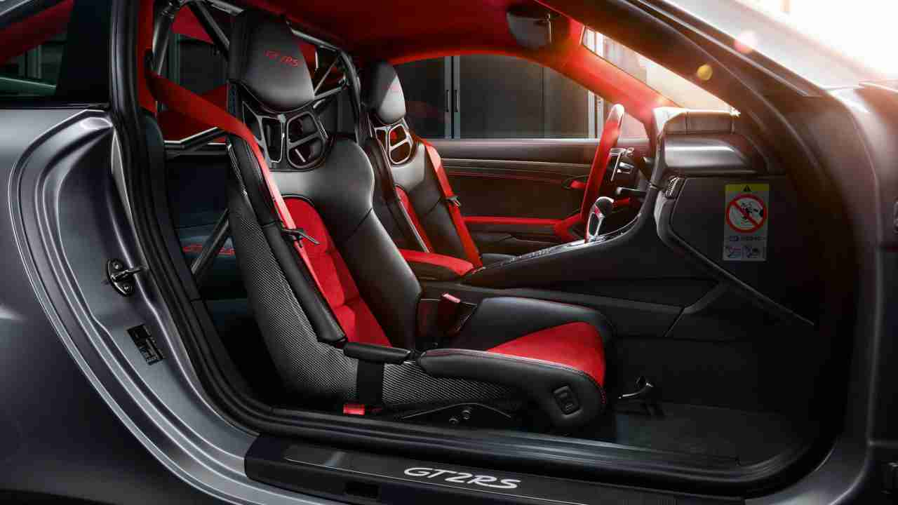 The car features a sporty interior. The dashboard has a five-round instrument panel that shows a rider's progress, boost pressure, engine power applied and longitudinal and transverse acceleration. A 4.6-inch display constantly supplies data from an on-board computer.
