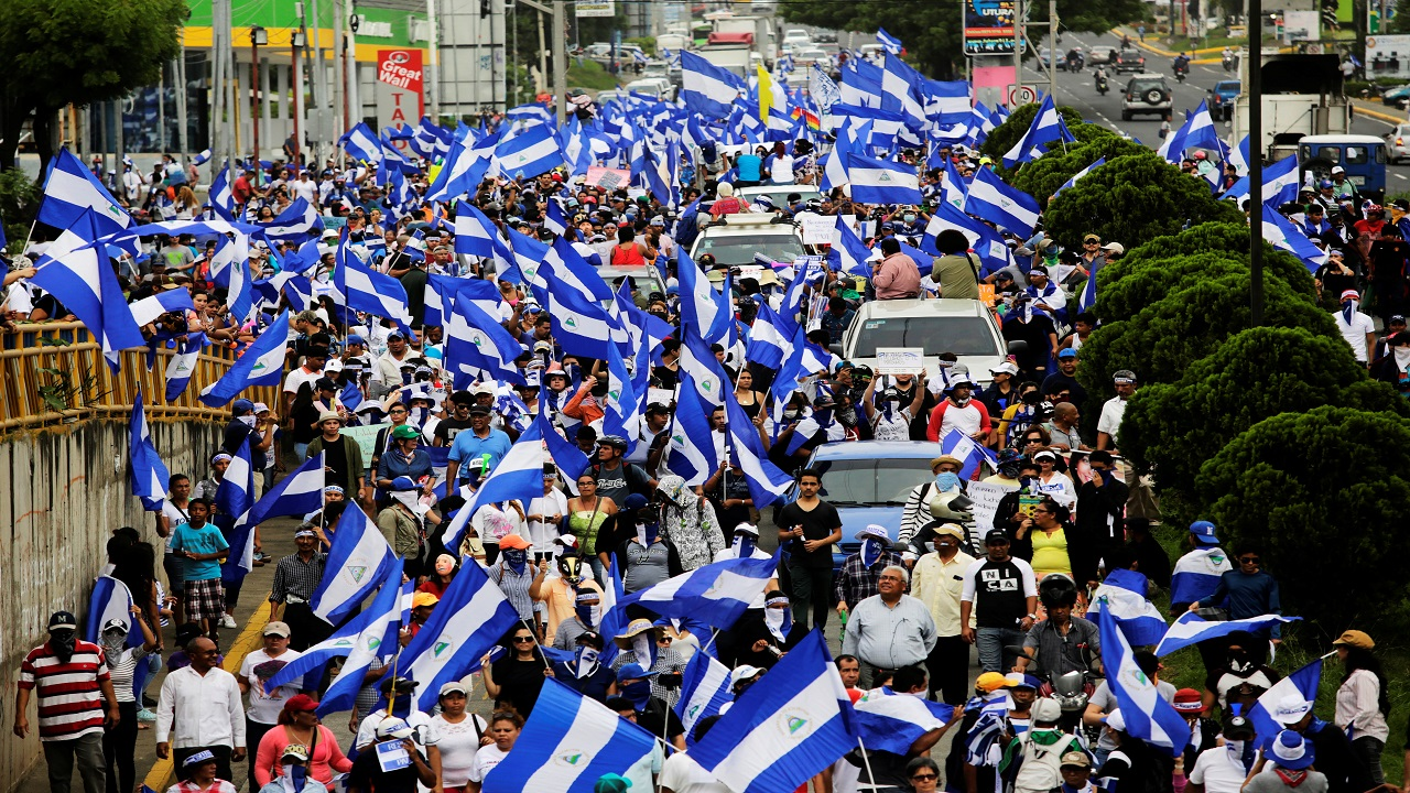 Demonstrators take part in a march to demand the ouster of Nicaragua's President Daniel Ortega in Managua, Nicaragua (Image: Reuters)