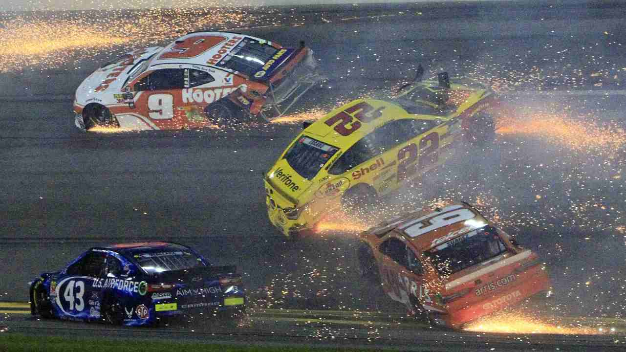 Chase Elliott (9), Darrell Wallace Jr (43), Joey Logano (22) and Daniel Suarez (19) wreck during the NASCAR Cup Series auto race at Daytona International Speedway, in Daytona Beach. (AP/PTI)