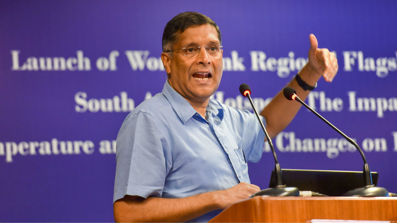 Chief Economic Advisor Arvind Subramanian speaks during the launch of World Bank report at IHC, in New Delhi. (PTI)