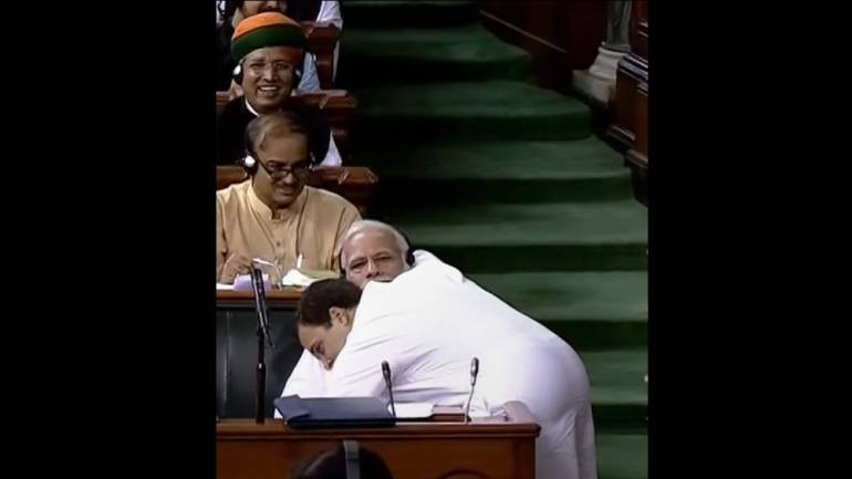 Rahul hugs Modi and says this is Congress