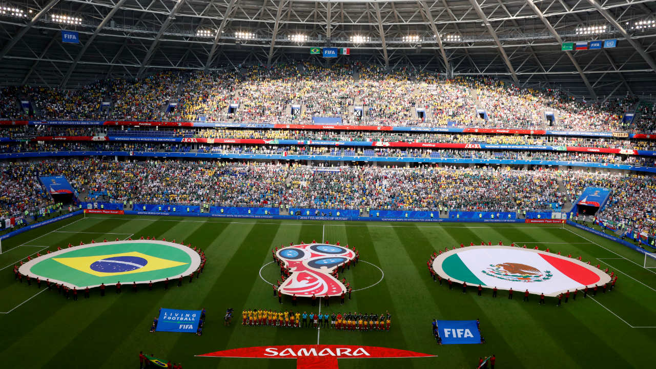 Pre-match ceremony as both teams made their way onto the pitch for their respective national anthems. The game was played at the Samara Arena, Samara. (Image: Reuters)