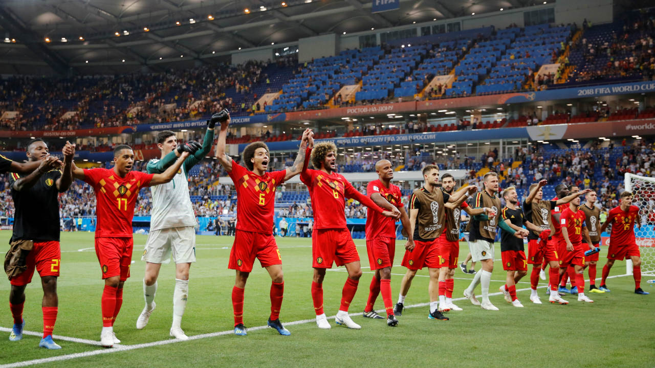 The Belgium team celebrated before their fans and thanked them as well. Belgian fans will get to see their team play against Brazil in the next round. (Image: Reuters)