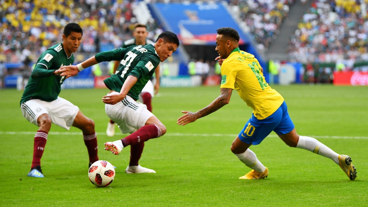 After keeping out waves of Mexican attacks, Brazil began to create their own attacking chances. Neymar, in particular, started growing in influence. (Image: Reuters)