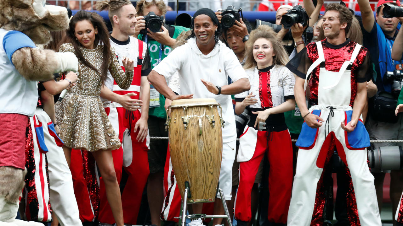 Brazilian football legend Ronaldinho also joined in on the festivities with a conga drum flanked by other performers. (Image: Reuters)