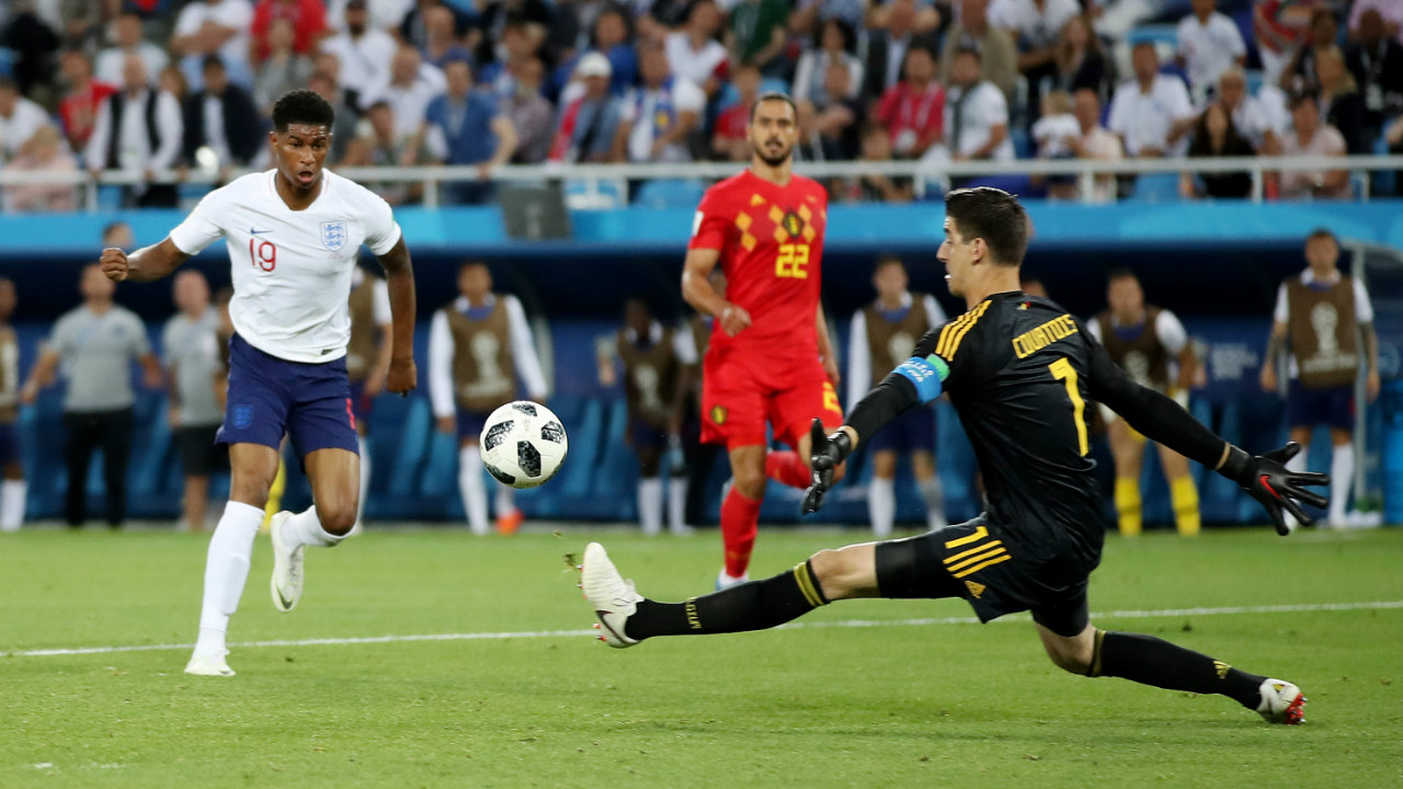 Thibaut Courtois | Belgium's goal-keeper is a giant of a man, always calm, and always alert. The Chelsea FC keeper has kept two clean sheets so far in the three games he has played, with four catches, three clearances and one punch, all culminating in a 75% success rate. In the game against England, he managed to do enough to keep out Rashford's brilliant shot on goal. (Image: Reuters)