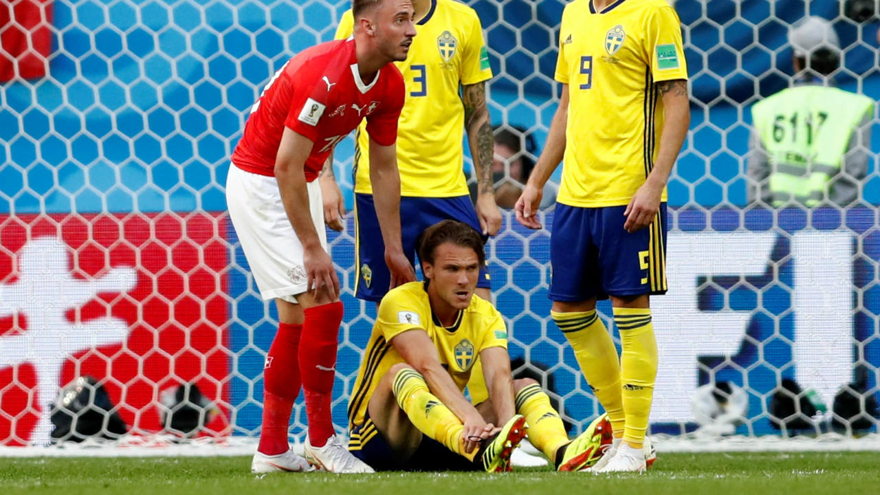 Sweden had a momentary injury scare as Ekdal went down clutching his foot. With Larsson out due to suspension, this could have a been a huge problem for Sweden. Nonetheless, The Swedish midfielder was up and running a minute later. (Image: Reuters)