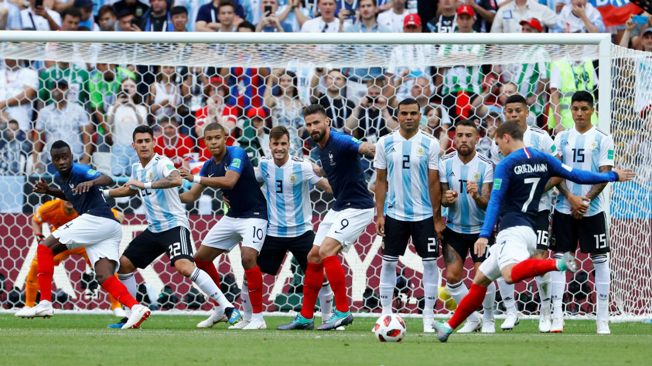 France 4-3 Argentina, Round of 16   A goal-fest worthy of the World Cup, this game saw strikes from Di Maria, Mercado and Aguero for Argentina. But Pavard's volley, Griezmann's penalty and Mbappe's sensational brace were enough to knock Messi's Argentina out and take France forward. Also, Mbappe became the first teenager to score two goals in a single WC game since Pele. (Image: Reuters)