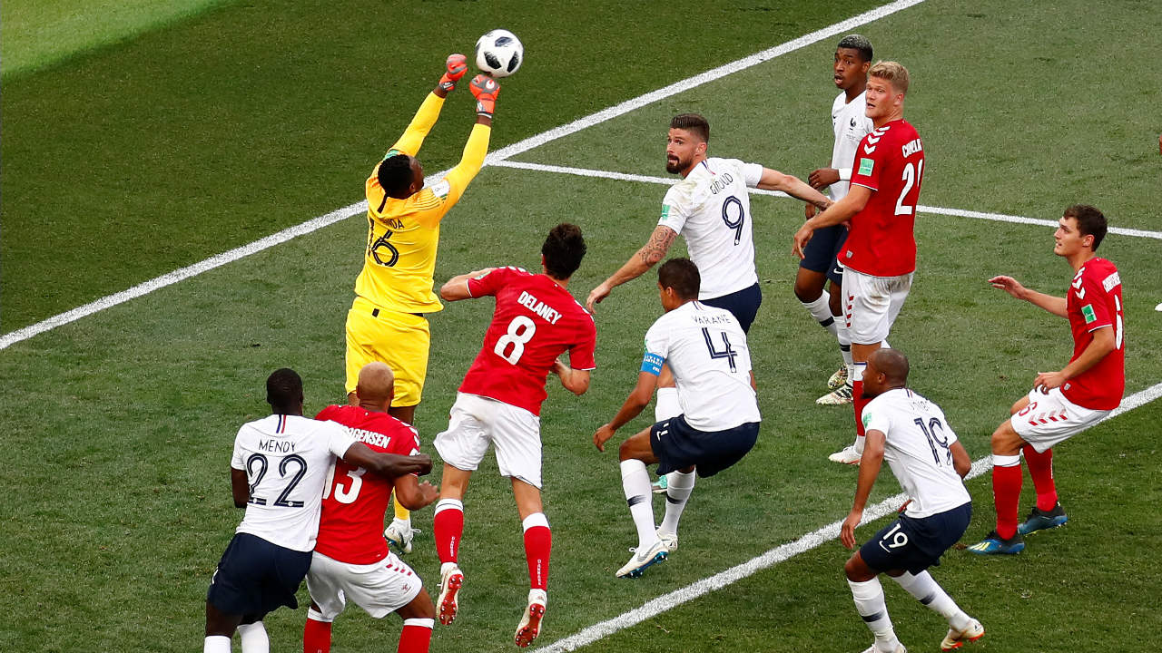 France 0-0 Denmark, Group C | Both sides went into the game requiring a point from a draw to confirm qualification. Deschamps made six changes to the France line-up. Neither team was willing to take a risk, and this resulted in the tournament's first goal-less draw. (Image: Reuters)