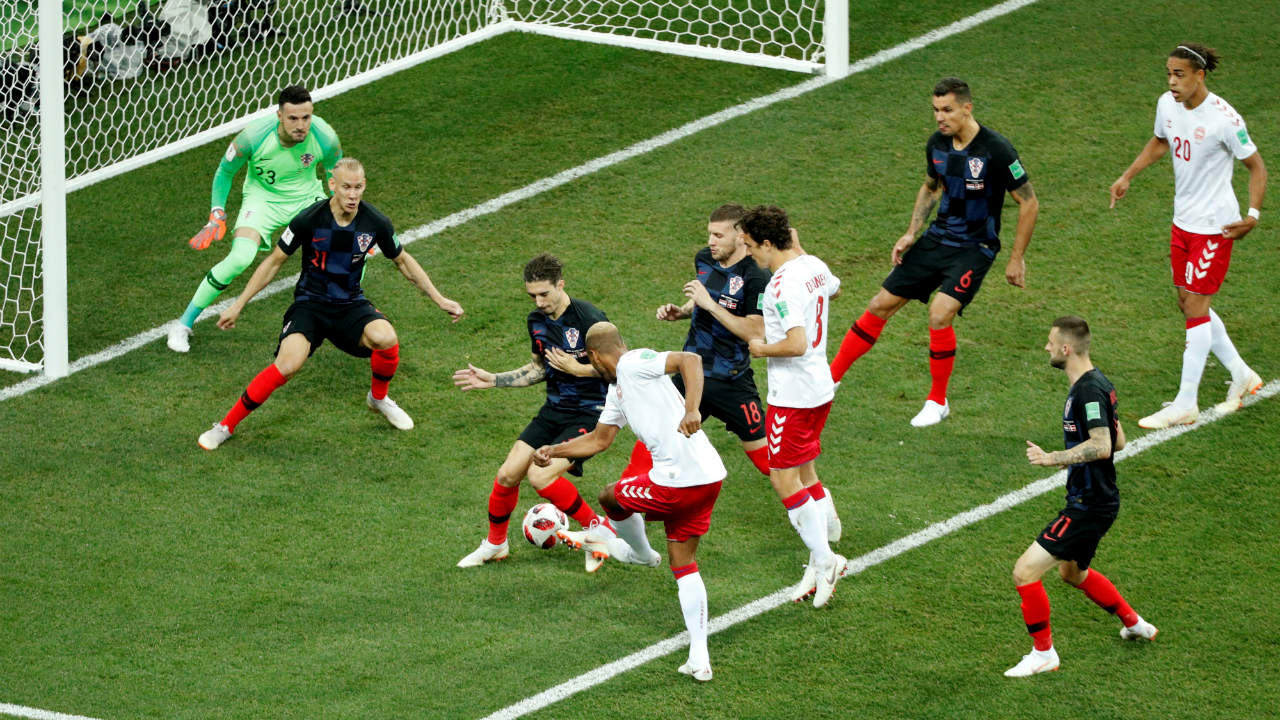 Denmark scored the first goal of the game very early as Jorgensen took advantage of the mad scramble in the Croatian penalty area. The score was 1-0 to Denmark at the 2nd minute. (Image: Reuters)