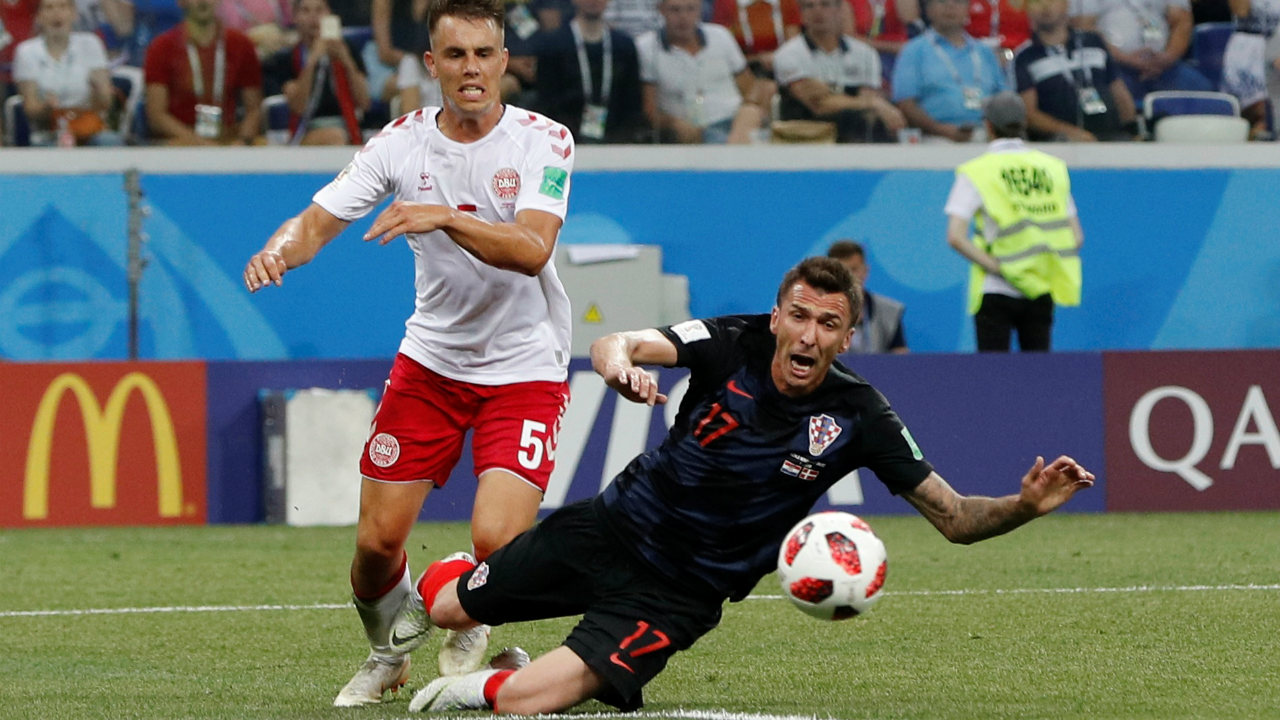 Mandzukic had a penalty claim denied in the 20th minute as he went down in the Danish Penalty box. But referee waved away his claims. A consultation with the VAR system proved the referee to be right. (Image: Reuters)