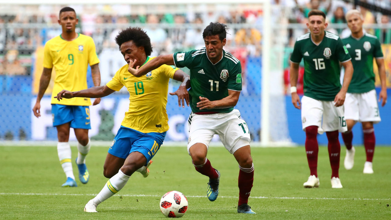 The initial 20 minutes of the game saw a lot of aggressive pressing by Mexico, as they kept the Brazilian defenders on their toes. Carlos Vela (in pic) was particularly lively. (Image: Reuters)