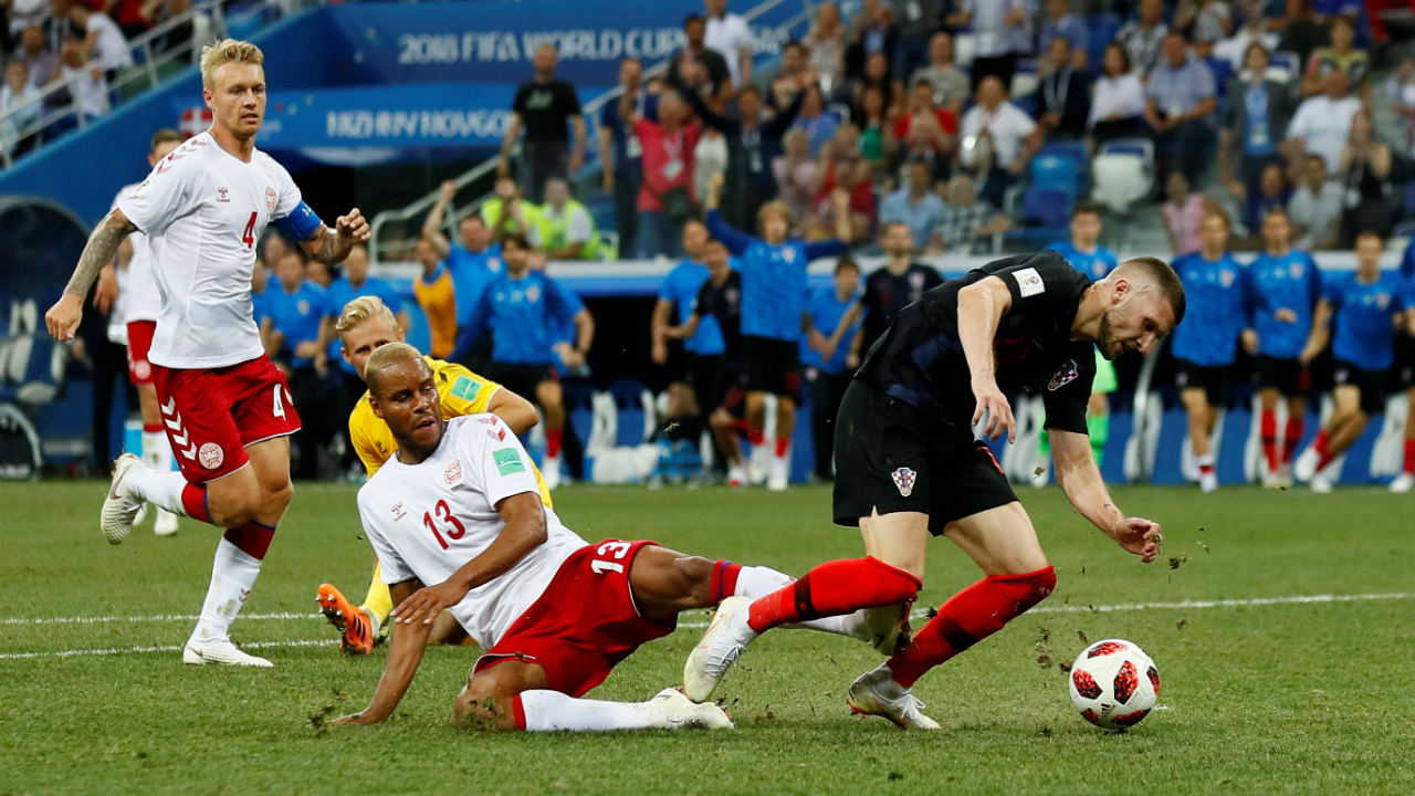 The game went into Extra Time. With four minutes remaining, Rebic was brought down by Jorgensen inside the Danish penalty area, after a pas from Modric set the Croatian one-one-one with keeper Schmeichel. (Image: Reuters)