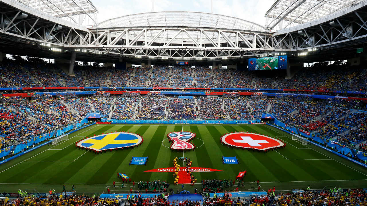 Pre-match ceremony inside the St. Petersburg Stadium, St. Petersburg, as the players lined up for their respective national anthems. (Image: Reuters)