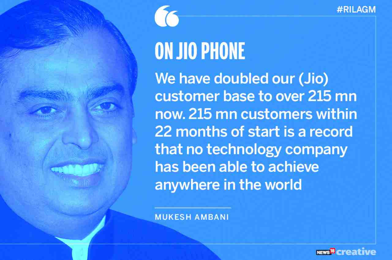 On Jio | We have doubled our customer base to over 215 million now. 215 million customers within 22 months of start is a record that no technology company has been able to achieve anywhere in the world.