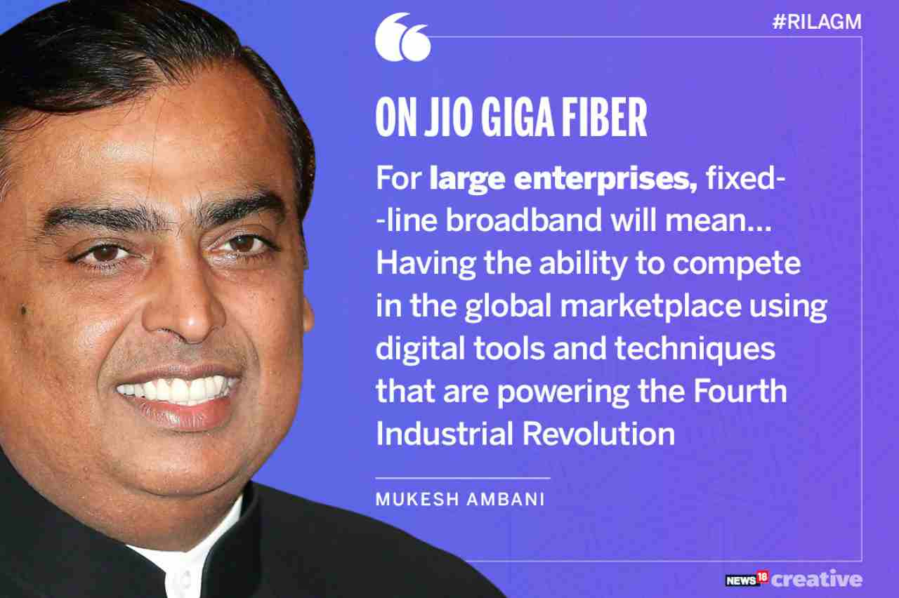 On Jio GigaFiber | For large enterprises, fixed-line broadband will mean…having the ability to compete in the global marketplace using digital tools and techniques that are powering the fourth industrial revolution.