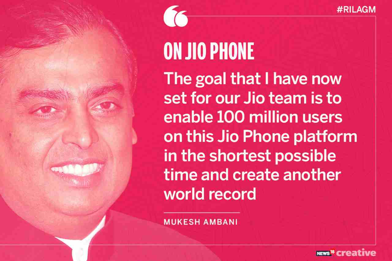 On JioPhone | The goal that I have now is to enable 100 million users on this JioPhone platform in the shortest possible time and create another world record.