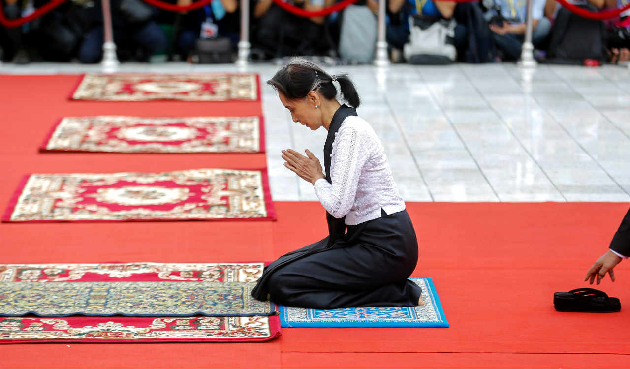 Myanmar State Counselor Aung San Suu Kyi attends an event marking the 71st anniversary of Martyrs' Day at the Martyrs' Mausoleum dedicated to the fallen independence heroes, including her father General Aung San, in Yangon, Myanmar (Reuters)
