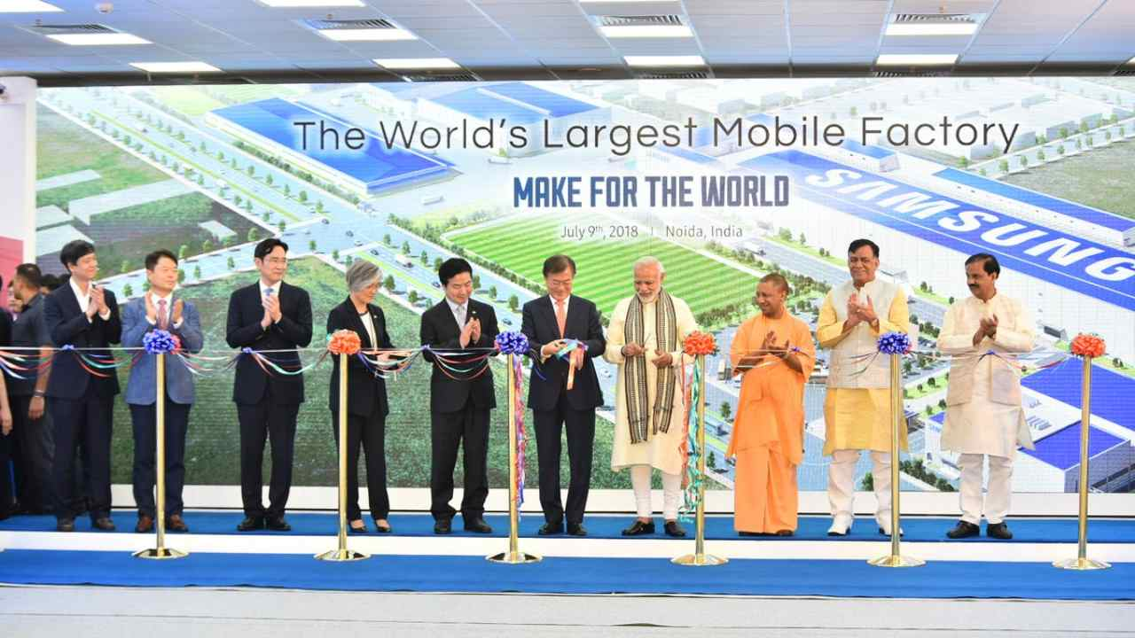 Prime Minister Narendra Modi and South Korean President Moon Jae-in inaugurated the 'world's biggest mobile manufacturing unit' by Samsung on Monday.