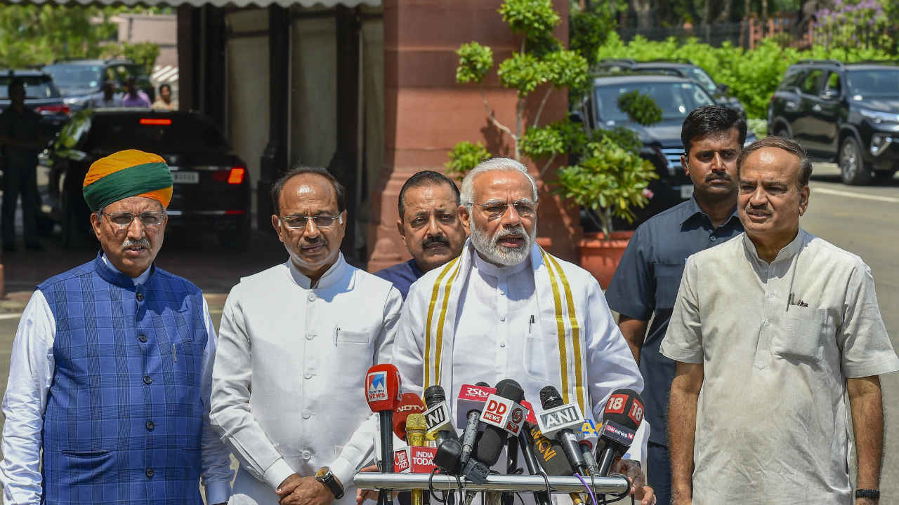Prime Minister Narendra Modi addresses the media ahead of Parliament's monsoon session, in New Delhi. Parliamentary Affairs Minister Ananth Kumar, Union Minister for Development of North Eastern Region (DoNER) Jitendra Singh and Union MoS for Parliamentary Affairs Vijay Goel are also seen. (PTI)