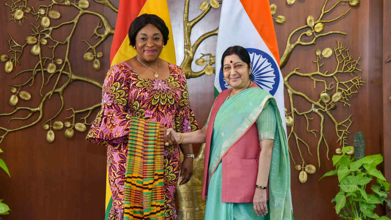 External Affairs Minister Sushma Swaraj shakes hands with her Ghanaian counterpart Shirley Ayorkor Botchway, in New Delhi (PTI)