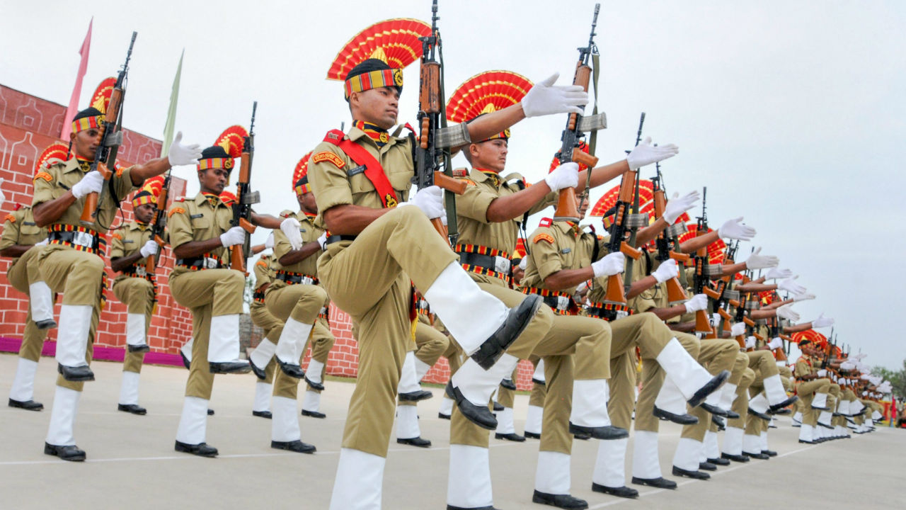 New BSF recruits during the passing out-cum-attestation parade at STC BSF headquarters in Humhama, Srinagar. (Image: PTI)