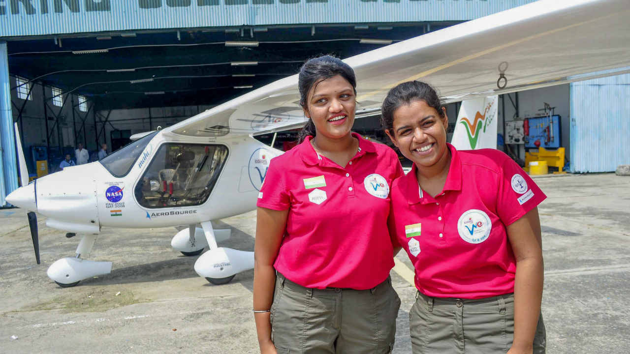 "Capt. Keithair Misquitta (R) and Capt. Aarohi Pandit  before they leave for world tour for awareness of ""Beti Padhao, Beti Bachao"" campaign, by Mahi, the light sports aircraft or LSA, at the Aviation Club in Patiala. (PTI)"